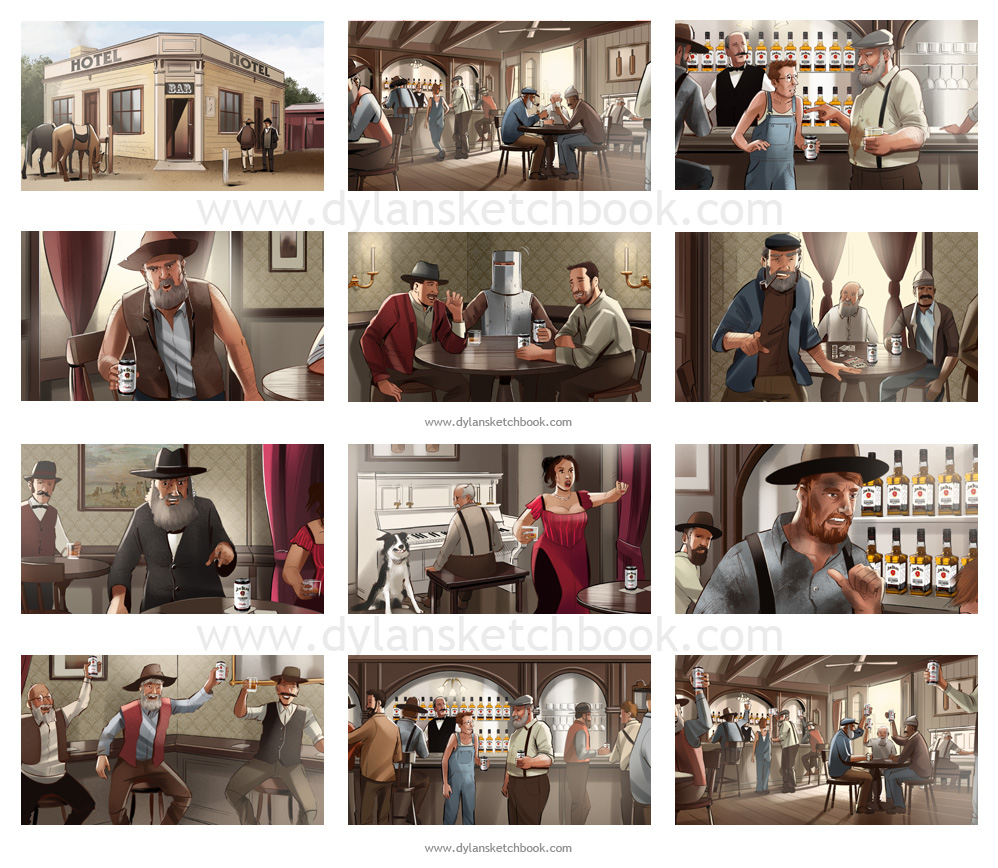 Jim Beam TVC colour storyboards