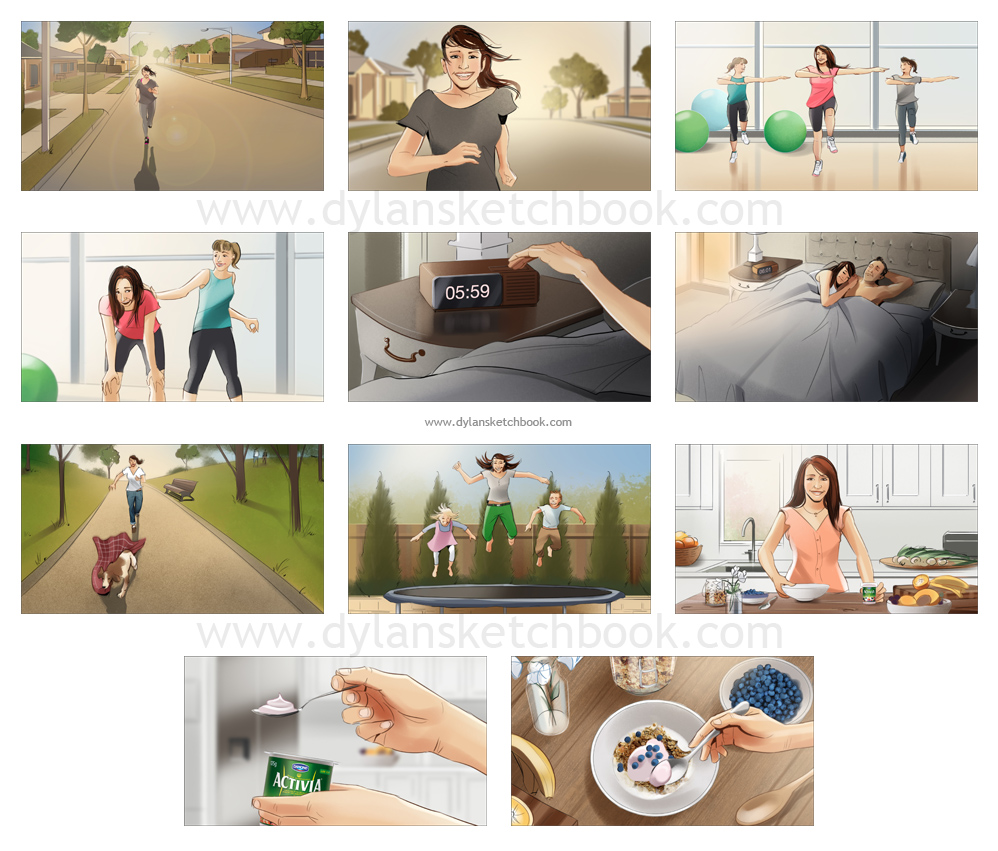 Activia Colour Storyboards
