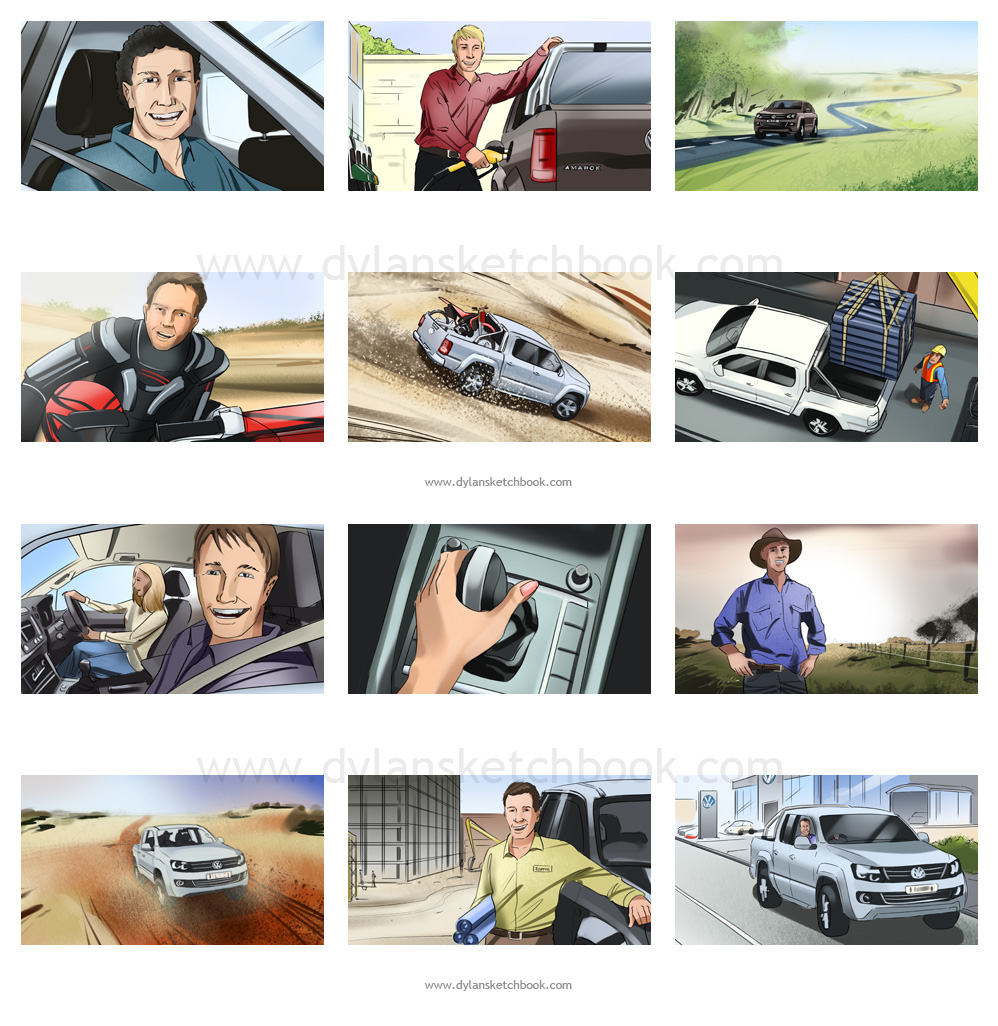 Colour storyboards for a 4WD TVC