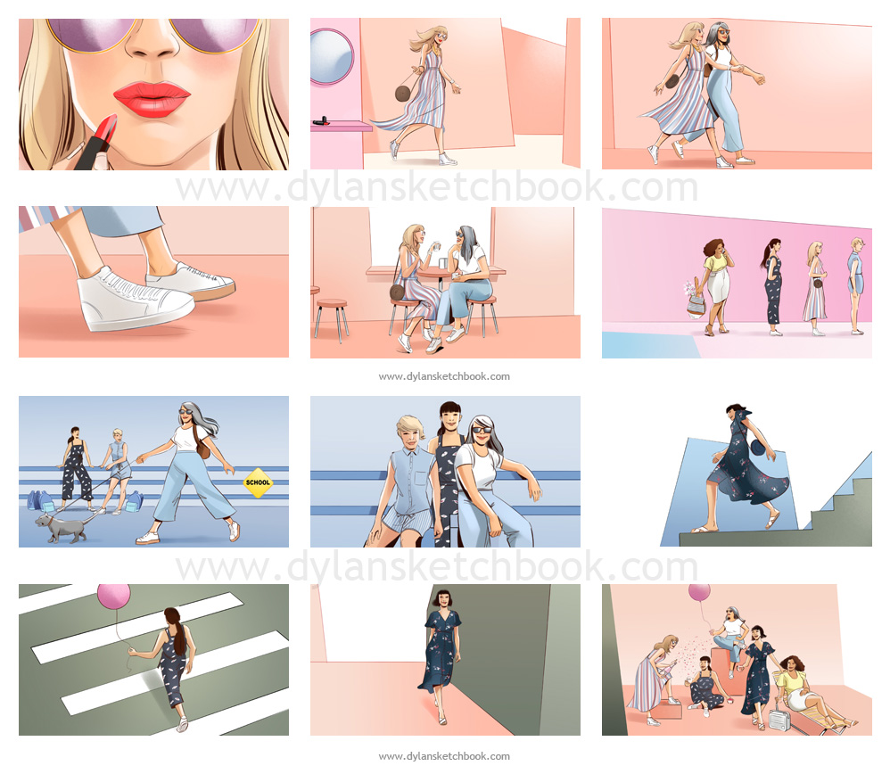 Fashion Colour Storyboards for a Kmart TVC